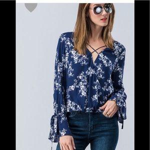Tops - Floral surplice ruffle sleeve top